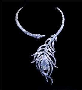 Bridal Peacock Necklace Earring Set Swarovski Crystal