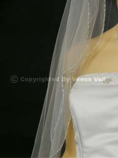 2T Ivory Waltz Scalloped Beaded Edge Bridal Wedding Veil