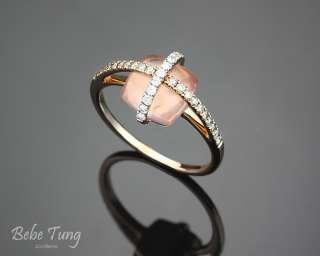 18K rose gold fancy brown diamonds rose quartz ring