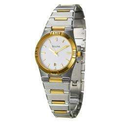 Bulova Womens Two tone Stainless Steel White Dial Watch