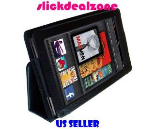 NEW PREMIUM BLACK PU LEATHER CASE COVER FOR  KINDLE FIRE