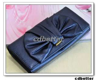 Elegant Big Bowknot Long Women Soft PU Purse wallet NEW