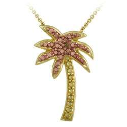 18k and Rose Gold over Silver Champagne Diamond Palm Tree Necklace