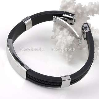 New Mens Stainless Steel Rubber Bracelet Wristband 8L