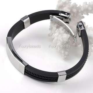 New Mens Stainless Steel Rubber Bracelet Wristband 8L