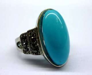 Charming Vintage Silver Oval Blue Turquoise Ring Size 7 A017