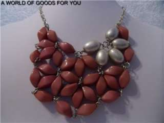 NEW ANTHROPOLOGIE SILVER AND CORAL BEADS BIB STATEMENT NECKLACE W