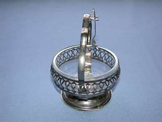 English Silverplate Caviar Bowl w/Glass Insert & Spoon