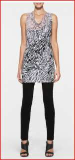 BCBG BLACK COMBO JERSEY PRINT TUNIC TOP NWT Size XS $128  S460