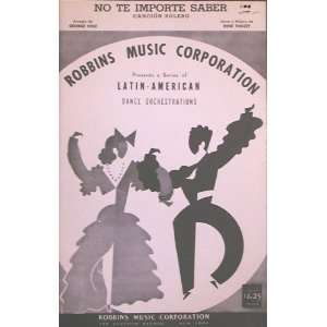 No Te Importe Saber (Cancion Bolero): Rene TOUZET, George
