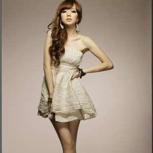 Korea Women Strapless Layered Bottom Party Mini Dresses
