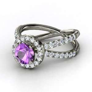 Orbit Ring, Round Amethyst 14K White Gold Ring with Diamond Jewelry
