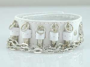 Silver Bullet Chains in White Genuine Leather Wide Bracelet bangle NEW