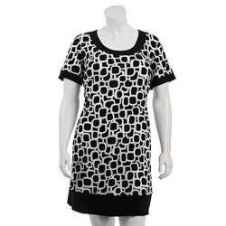 Tiana B. Womens Plus Size Mod Print Jersey Dress