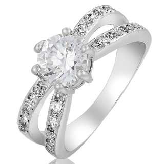 WEDDING! Gift Fine Clear Topaz White Gold GP Ladies Ring Fashion