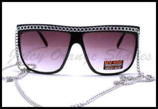 Womens FLAT TOP SILVER CHAIN CELEBRITY Oversized Sunglasses BLACK