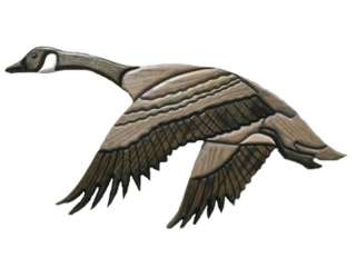 CANADIAN GOOSE Wood OAK CARVED 21x10 Wall Plaque INLAY