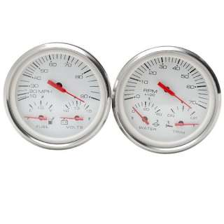 FARIA CUSTOM MULTI FUNCTION SLVR/WHT BOAT GAUGE SET
