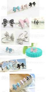 Lovely Cute Bowknot Butterfly Dots Rhinestone Adjustable Ring