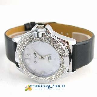 Women Black fashion diamond crystal Quartz Pu Leather Wrist Watch wl38