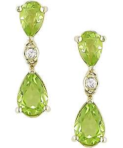 10k Yellow Gold Pear Shaped Peridot Earrings