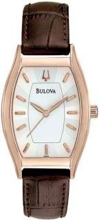 Bulova Ladies Rose Gold Tone White Dial Watch 97L114