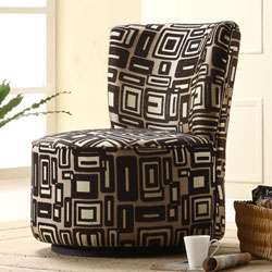 Moda Black/ Grey Print Round Swivel Chair