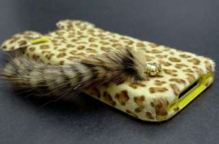 Leopard Fur Cute Cat tails Case for iPhone 4 4S +LCD Protector Brown