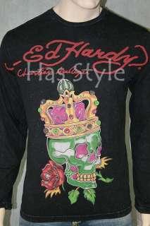Ed Hardy MenS King Skull long sleeve Shimmer T Shirt XL