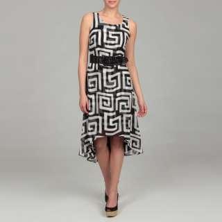 Gabby Skye Womens Black/ White Belted Dress