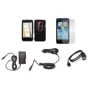 HTC EVO 3D (Sprint) Premium Combo Pack   Black Silicone Soft Skin Case