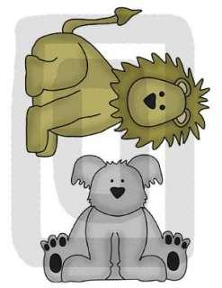 The Lion measures 7 x 5.75. The Koala measures 5 x 5.75.