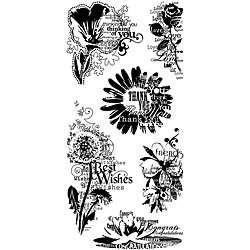 Inkadinkado Flower Sentiments Clear Stamps