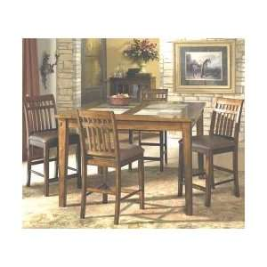 Slate Top Gathering Table with 4 Slatback Stools: Home & Kitchen