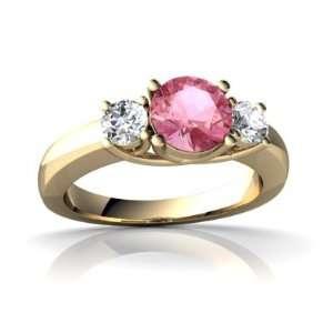 14K Yellow Gold Round Created Pink Sapphire Trellis Ring