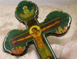 Hand painted Wood Wall Cross Crucifix Jesus AUTHENTIC R