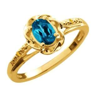 0.57 Ct Oval London Blue Topaz Citrine Gold Plated