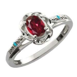 0.51 Ct Oval Ruby Red Mystic Topaz Swiss Blue Topaz 10K