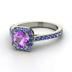 Adele Ring, Round Amethyst 14K White Gold Ring with