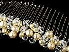 Silver Wedding Bridal Mini Hair Comb Pave Flower Ivory Pearl