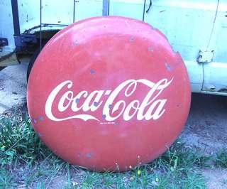 VINTAGE 1950S 36 ROUND COCA COLA COKE LOGO BUTTON porcelain SIGN