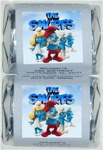 30 BIRTHDAY PARTY SMURFS PERSONALIZED NUGGET CANDY WRAPPER LABELS
