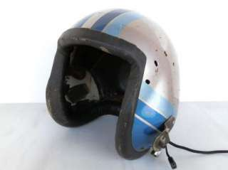1960s vintage fighter jet pilot helmet silver blue stripes description
