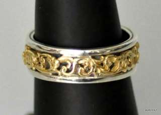 Womens Slim Sterling Silver 18K Gold Floral Band Ring Size 7