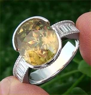 Vintage Estate 8.57 Carat Natural Sphene & Diamond Ring 14k White Gold
