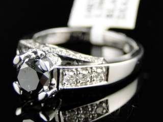 14K LADIES WOMENS WHITE GOLD BLACK DIAMOND ROUND CUT SOLITAIRE