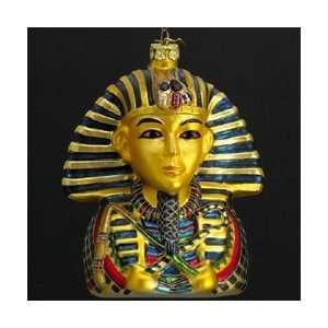 Pack of 8 Blown Glass Egyptian King Tut Bust Christmas