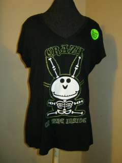 Jim Benson Happy Bunny crazy on the inside t shirt xxl 19 glow in dark