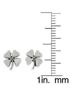Sterling Silver Four Leaf Clover Stud Earrings