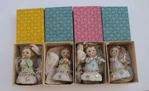 PORCELAIN CHRISTMAS ANGELS IN BOXES AJAX JAPAN LABELS 4 PC ANGEL SET